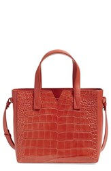 Vince 'Baby Signature V' Croc Embossed Tote Red Sienna
