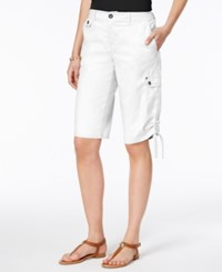 Style And Co Ruched Bermuda Shorts Only At Macy's Bright White