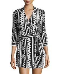 Neiman Marcus Geometric Print Wrap Front Short Jumpsuit Black White