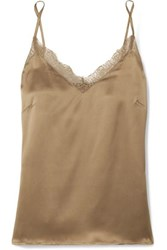 Anine Bing Lace Trimmed Silk Camisole Gold