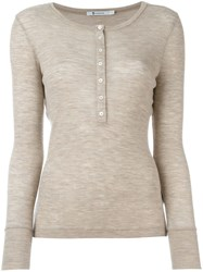 T By Alexander Wang Henley Jumper Nude And Neutrals