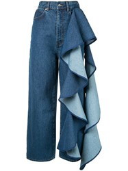 Solace London Tay Ruffle Detailed Jeans Blue