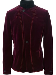 Haider Ackermann Band Collar Velvet Jacket Red