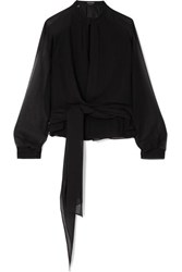 Tom Ford Silk Georgette Wrap Blouse Black