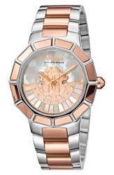 Roberto Cavalli Women's By Franck Muller Rotating Dial Bracelet Watch 37Mm Silver White Mop Rose Gold