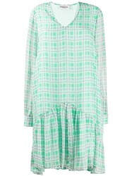 Essentiel Antwerp Tori Check Flared Dress Green