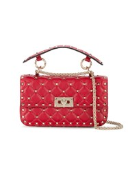 Valentino Small Rockstud Spike Bag Leather Metal Red