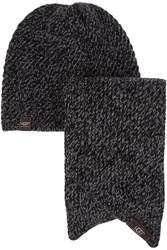 Ugg Bias Knitted Hat And Scarf Set Black