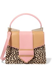 Sara Battaglia Leather And Leopard Print Calf Hair Tote Animal Print