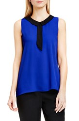 Vince Camuto Women's Contrast Collar Sleeveless Blouse Optic Blue
