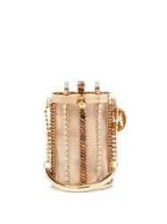 Rosantica By Michela Panero Mercury Crystal Embellished Cage Clutch Bag Gold