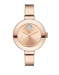 Movado Ladies Mid Size Stainless Steel Bangle Bracelet Watch In Rose Goldtone