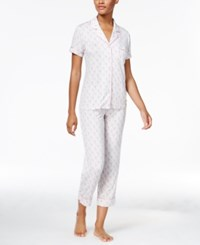 Alfani Piping Trimmed Printed Knit Pajama Set Only At Macy's Grey Floral