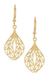 Yochi Design Filigree Leaf Earrings Metallic