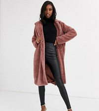 Missguided Tall Longline Faux Fur Coat In Rose Pink