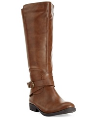 Style And Co. Madixe Casual Riding Boots Only At Macy's Women's Shoes Cognac
