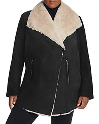 Calvin Klein Plus Asymmetrical Faux Shearling Coat Black