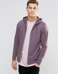 Asos Zip Up Hoodie In Purple Dusty Lilac
