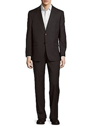 Tommy Hilfiger Classic Fit Sharkskin Wool Blend Suit Charcoal
