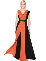 Vionnet Pleated Jersey And Georgette Long Dress