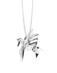 Origami Sterling Silver Pegasus Pendant Long Necklace