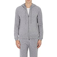 Derek Rose Men's Cashmere Finley Zip Front Hoodie Light Grey