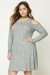 Forever 21 Plus Size Marled Swing Dress Charcoal Ivory