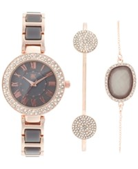 Inc International Concepts Women's Rose Gold Tone And Gray Acrylic Bracelet Watch And Bracelets Set 30Mm Only At Macy's