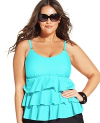 Island Escape Plus Size Tiered Ruffle Tankini Top Women's Swimsuit Aqua