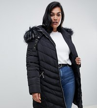 Lovedrobe Long Quilted Coat With Faux Fur Trim Black