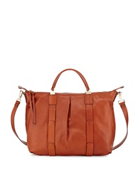 Kooba Joshua Leather Satchel Bag Cognac