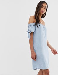Superdry Alexia Off Shoulder Denim Dress Blue
