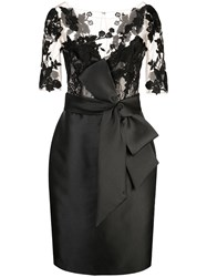 Badgley Mischka Panelled Fitted Dress Black