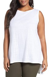 Eileen Fisher Plus Size Women's Organic Linen Jersey Long Shell White