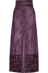 Anna Sui Embroidered Faux Suede Maxi Skirt Purple