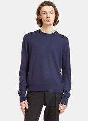 Gucci Crew Neck Zipped Knit Sweater Blue