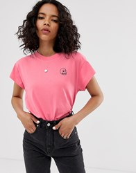 Cheap Monday Organic Cotton T Shirt With Tiny Skull Logo Pink
