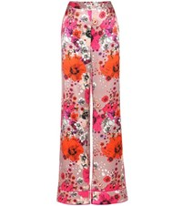 Roberto Cavalli Floral Printed Silk Trousers Pink