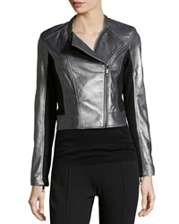 Vakko Colorblock Leather Combo Biker Jacket Large