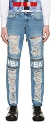 Hood By Air Blue Shredded And Zipped Logo Jeans