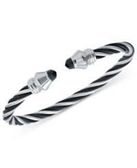 Charriol Women's Fabulous Black Spinel Two Tone Pvd Stainless Steel Cable Bangle Bracelet 04 721 1219 1M Two Tone