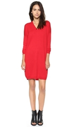 6397 V Neck Sweater Dress Red