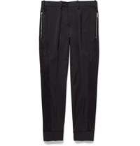 Neil Barrett Felt Trimmed Crepe Trousers Black