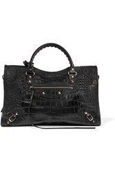 Balenciaga Classic City Croc Effect Leather Tote Black