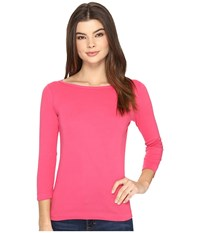 Three Dots Essential British Neck 3 4 Sleeve Top Pink Hibiscus Women's Clothing