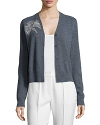 Tory Burch Embellished Long Sleeve V Neck Cardigan Gray