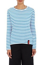 Kule Women's Modern Striped Cotton Long Sleeve T Shirt Cream Blue No Color Cream Blue No Color