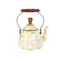 Mackenzie Childs Parchment Check Enamel Tea Kettle Small