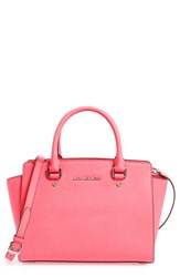 Michael Michael Kors 'Selma Medium' Zip Top Satchel Coral Coral Silver