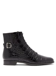 Tod's Buckled Crocodile Effect Leather Ankle Boots Black